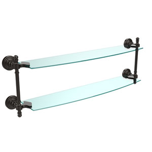Oil Rubbed Bronze Retro-Wave 24-Inch Double Glass Shelf