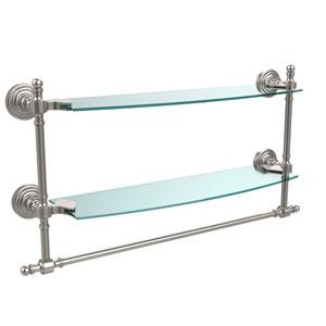 Satin Nickel Retro-Wave 18-Inch Double Glass Shelf with Towel Bar