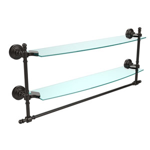 Oil Rubbed Bronze Retro-Wave 24-Inch Double Glass Shelf with Towel Bar