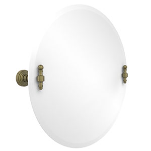 Frameless Round Tilt Mirror with Beveled Edge, Antique Brass