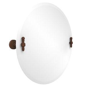 Frameless Round Tilt Mirror with Beveled Edge, Antique Bronze