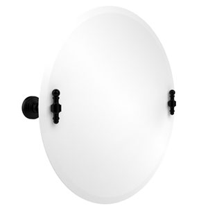 Frameless Round Tilt Mirror with Beveled Edge, Matte Black