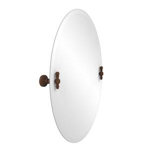 Frameless Oval Tilt Mirror with Beveled Edge, Antique Bronze