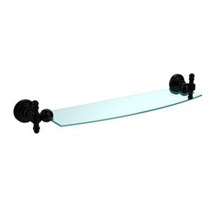 Retro Wave Matte Black 18 Inch Glass Shelf