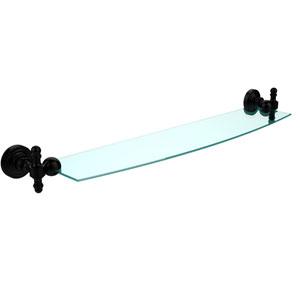 Retro Wave Matte Black 24 Inch Glass Shelf