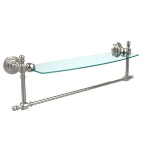 Retro Wave Polished Nickel 18 Inch Glass Shelf w/ Towel Bar