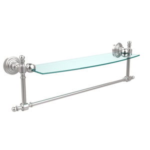 Retro Wave Satin Chrome 18 Inch Glass Shelf w/ Towel Bar