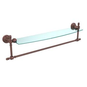 Retro Wave Antique Copper 24 InchGlass Shelf w/ Towel Bar