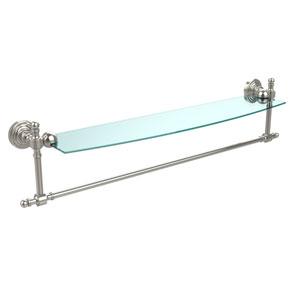 Retro Wave Polished Nickel 24 InchGlass Shelf w/ Towel Bar