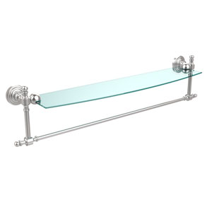 Retro Wave Satin Chrome 24 InchGlass Shelf w/ Towel Bar
