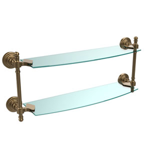 Retro Wave Brushed Bronze 18 Inch Double Glass Shelf