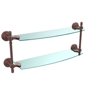 Retro Wave Antique Copper 18 Inch Double Glass Shelf