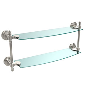 Retro Wave Polished Nickel 18 Inch Double Glass Shelf