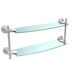 Retro Wave Satin Chrome 18 Inch Double Glass Shelf