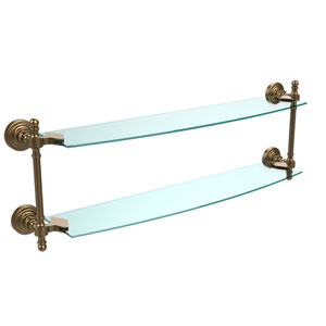 Retro Wave Brushed Bronze 24 Inch x 5 Inch Double Glass Shelf