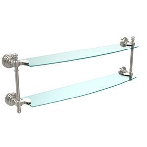 Retro Wave Polished Nickel 24 Inch x 5 Inch Double Glass Shelf