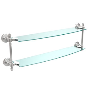 Retro Wave Satin Chrome 24 Inch x 5 Inch Double Glass Shelf