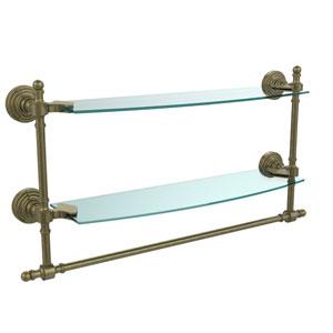 Retro Wave Antique Brass Double Shelf w/ Towel Bar