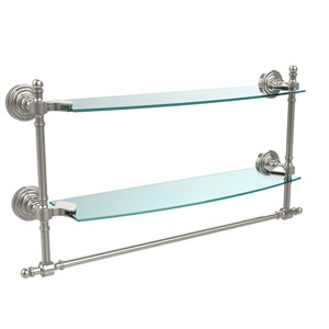 Retro Wave Polished Nickel Double Shelf w/ Towel Bar