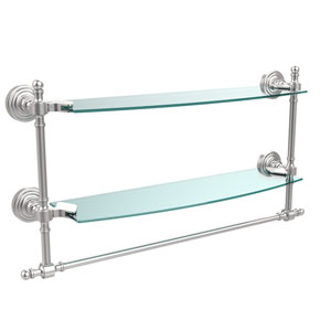 Retro Wave Satin Chrome Double Shelf w/ Towel Bar