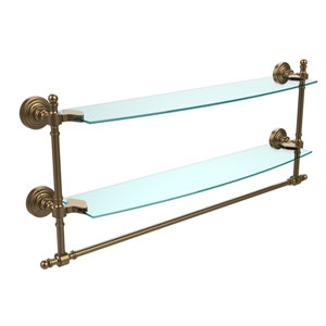 Retro Wave Brushed Bronze 24 Inchx5 InchDouble Shelf w/ Towel Bar