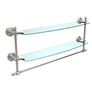 Retro Wave Polished Nickel 24 Inchx5 InchDouble Shelf w/ Towel Bar