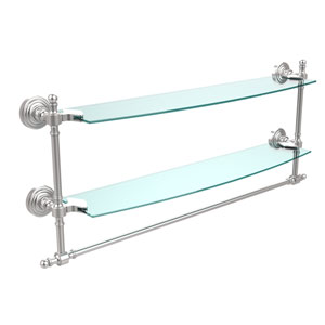 Retro Wave Satin Chrome 24 Inchx5 InchDouble Shelf w/ Towel Bar
