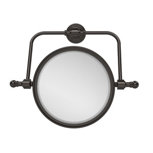 Retro Wave Collection Wall Mounted Swivel Make-Up Mirror 8 Inch Diameter with 2X Magnification, Oil Rubbed Bronze