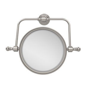 Retro Wave Collection Wall Mounted Swivel Make-Up Mirror 8 Inch Diameter with 2X Magnification, Satin Nickel