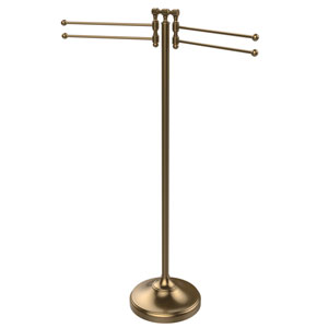 Towel Stand with 4 Pivoting Swing Arms, Brushed Bronze