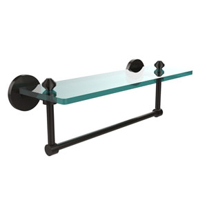 Oil Rubbed Bronze Southbeach 16-Inch Glass Shelf with Towel Bar