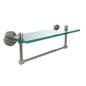 Satin Nickel Southbeach 16-Inch Glass Shelf with Towel Bar
