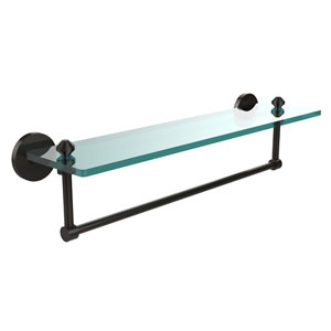 Oil Rubbed Bronze Southbeach 22-Inch Glass Shelf with Towel Bar