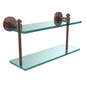 Southbeach Collection 16 Inch Two Tiered Glass Shelf, Antique Copper