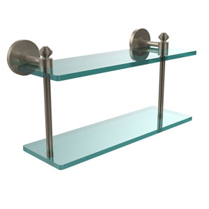 Southbeach Collection 16 Inch Two Tiered Glass Shelf, Antique Pewter