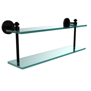 Southbeach Collection 22 Inch Two Tiered Glass Shelf, Matte Black