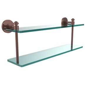 Southbeach Collection 22 Inch Two Tiered Glass Shelf, Antique Copper