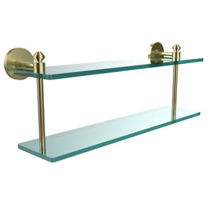 Southbeach Collection 22 Inch Two Tiered Glass Shelf, Satin Brass