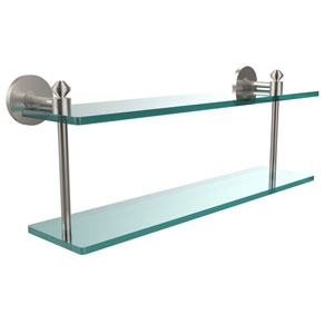 Southbeach Collection 22 Inch Two Tiered Glass Shelf, Satin Nickel