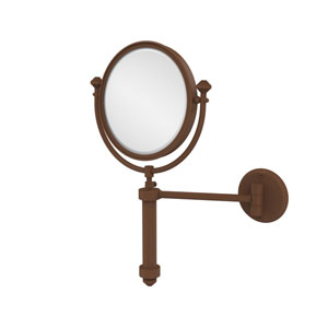 Southbeach Collection Wall Mounted Make-Up Mirror 8 Inch Diameter with 2X Magnification, Antique Bronze