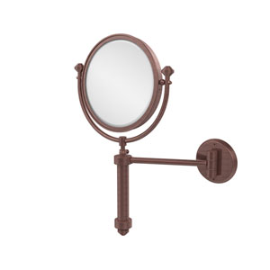 Southbeach Collection Wall Mounted Make-Up Mirror 8 Inch Diameter with 2X Magnification, Antique Copper