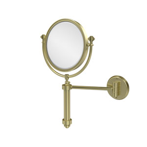 Southbeach Collection Wall Mounted Make-Up Mirror 8 Inch Diameter with 2X Magnification, Satin Brass