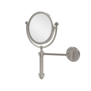 Southbeach Collection Wall Mounted Make-Up Mirror 8 Inch Diameter with 2X Magnification, Satin Nickel