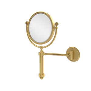 Southbeach Collection Wall Mounted Make-Up Mirror 8 Inch Diameter with 2X Magnification, Unlacquered Brass