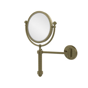 Southbeach Collection Wall Mounted Make-Up Mirror 8 Inch Diameter with 5X Magnification, Antique Brass
