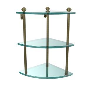 Southbeach Antique Brass Triple Corner Glass Shelf