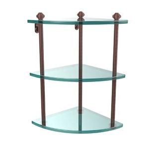 Southbeach Antique Copper Triple Corner Glass Shelf