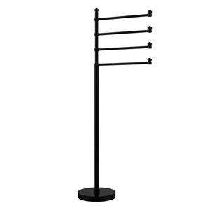 Southbeach Collection Free Standing 4 Pivoting Swing Arm Towel Stand, Matte Black