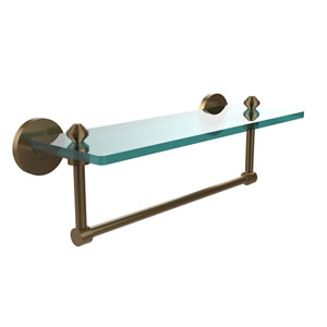 Southbeach Brushed Bronze 16x5 Glass Shelf w/ Towel Bar