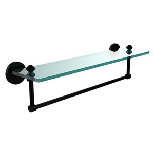 Southbeach Matte Black 22x5 Glass Shelf w/ Towel Bar